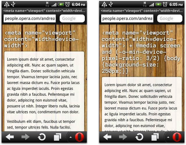 Screenshot of pages with and without device-pixel-ratio media query