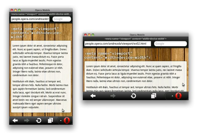 Screenshots of pages using a viewport width of device-width