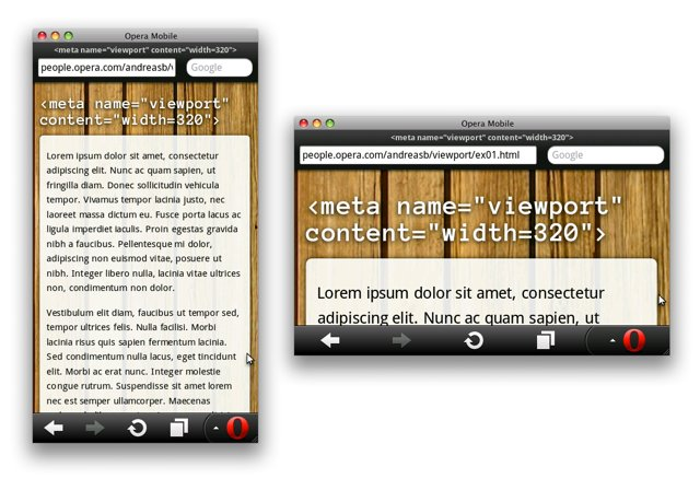 Screenshots of pages using a viewport width of 320px