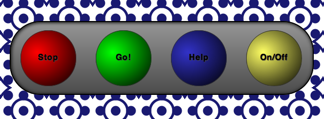 A panel of pop up buttons made with radial gradients