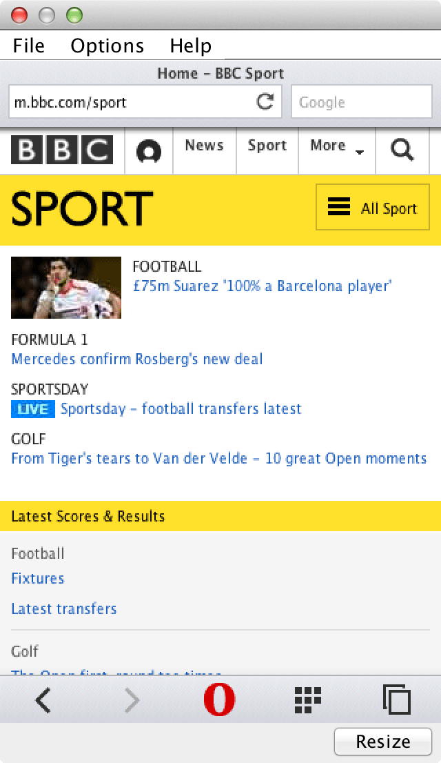 BBC Sport in Opera Mini