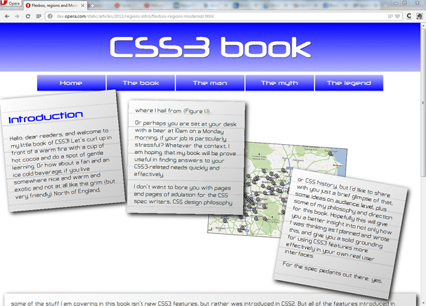 A css regions example showing a complicated layout with content flowed into different boxes