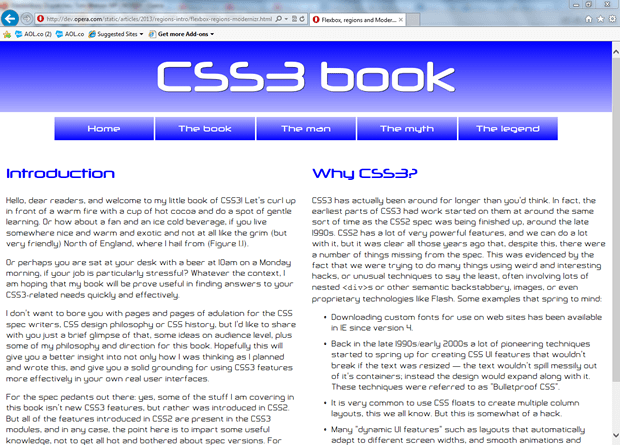 A simple two column layout provided as a fallback for browsers that don't support CSS regions