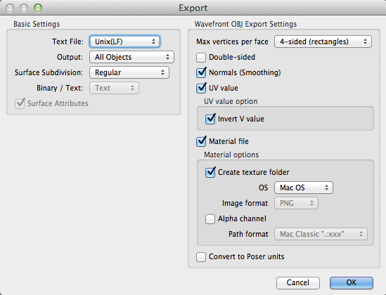 Shade Export dialog box