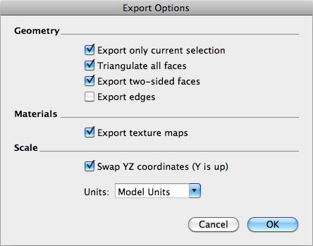 SketchUp Pro Export Options dialog box