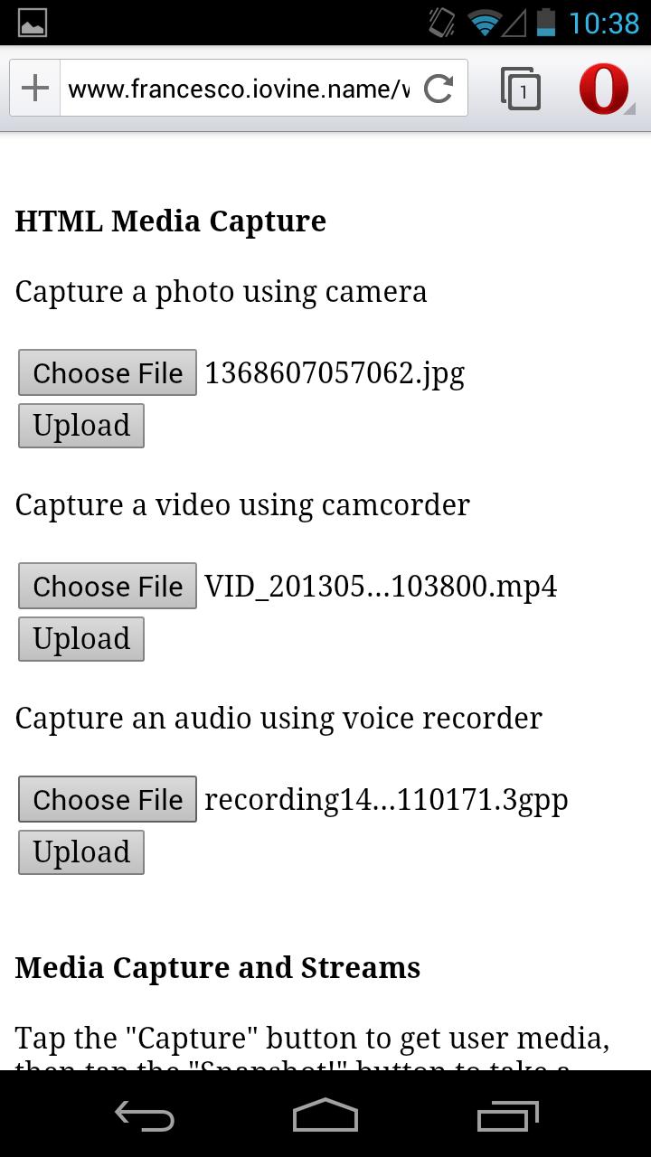 Dev Opera — Media Capture in Mobile Browsers