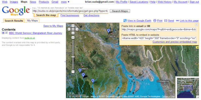 Geo data from the BBC web page displayed in Google Maps