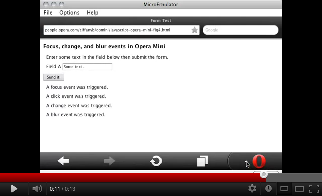 How form events work in Opera Mini