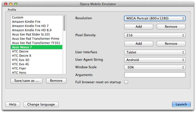 The Opera Mobile Emulator's Profile Selector