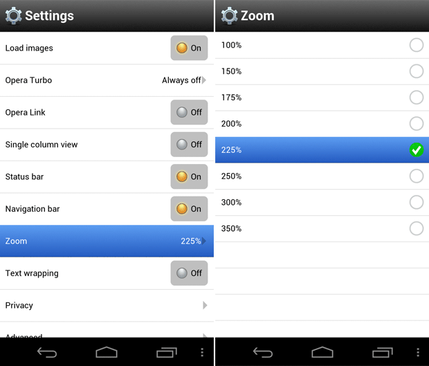 Opera Mobile's Zoom settings