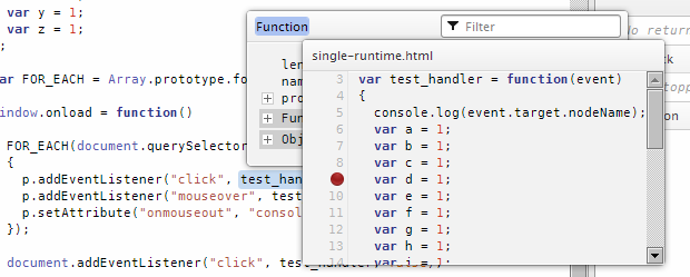 A function source tooltip overlay, shown over a function inspection overlay.