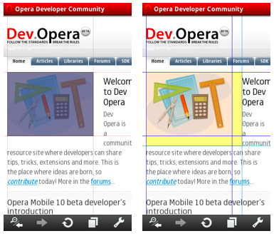 Opera Dragonfly highlighting in Opera Mobile