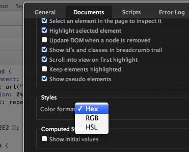 Changing the preferred color format in  Settings → Documents → Styles