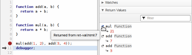 The new return values section, listing a series of function return values