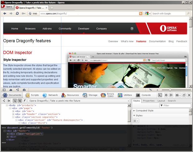 Opera Dragonfly 1.1 in action