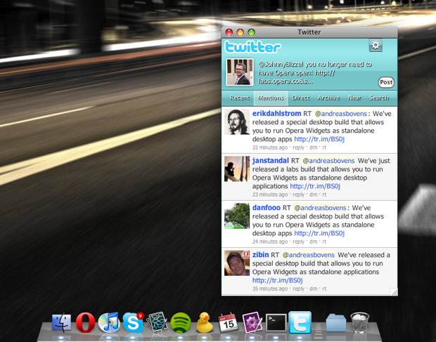 Screenshot of standalone Twitter widget