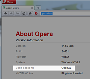 opera:about showing the new Vega backend entry