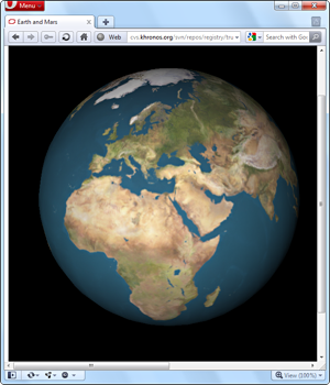 A WebGL demo running in the Opera 11 preview with WebGL and Hardware Acceleration for Windows