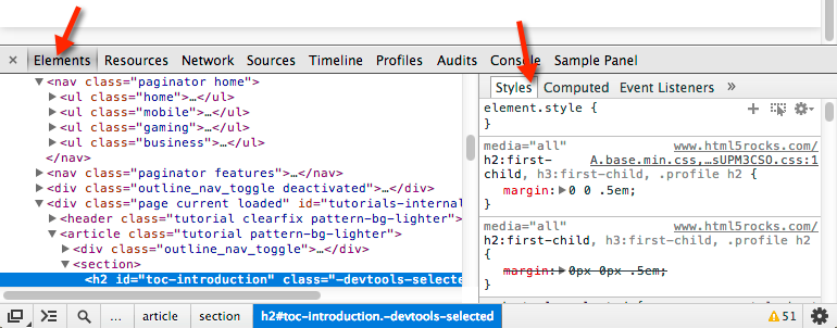 DevTools window showing Elements panel and Styles sidebar pane.