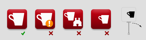 Image showing good and bad examples of icon shapes — you should go for a single clear shape in the center of the icon