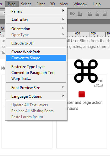 Make a vector shape of your text layer to fine tune the icon shape