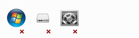 Examples of system icons and software vendor icons that you should not use