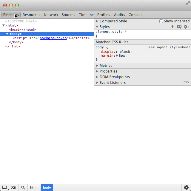 Debugging with web inspector